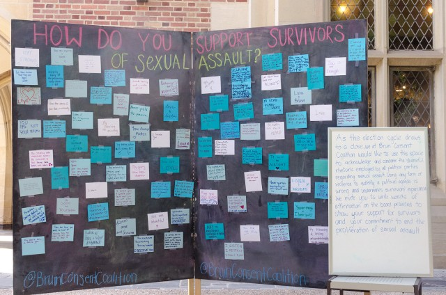 "The Bruin Consent Coalition held an event called ""Scribble Your Support"" in Kerckhoff Patio on Monday, where students could write messages of support and positivity for sexual assault survivors. (Anthony Tran/Daily Bruin)"
